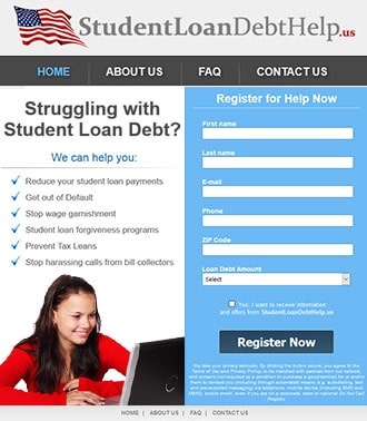 student loans wordpress website example