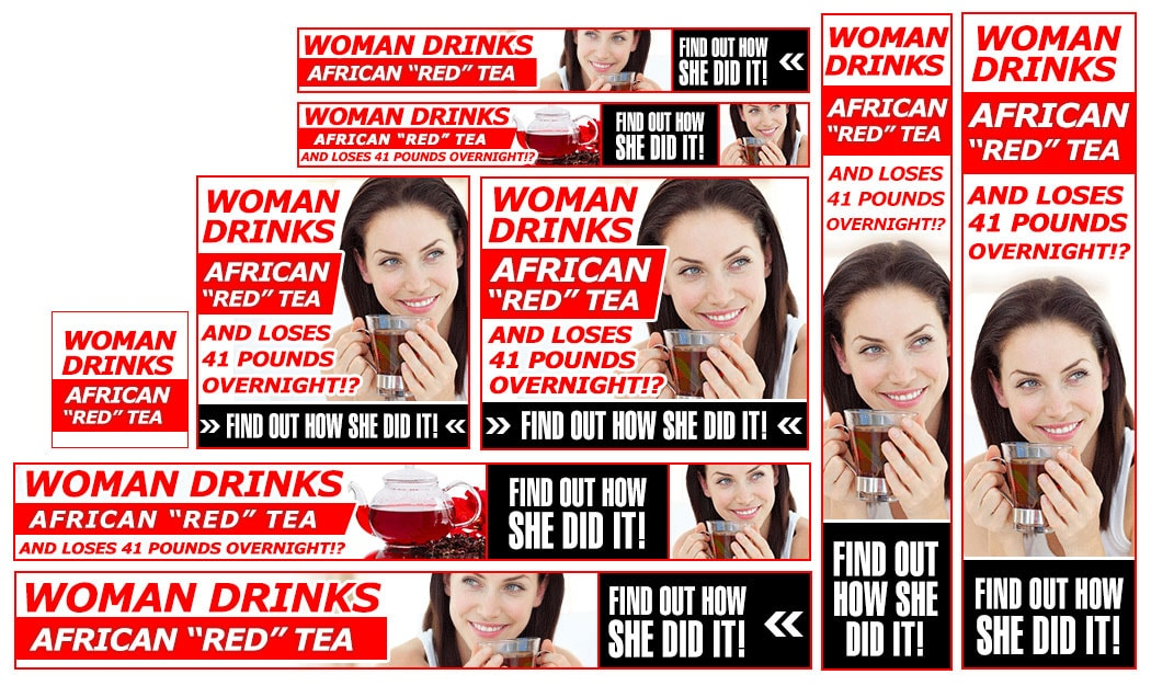 red tea banners set example