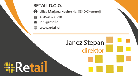 retail example for business card