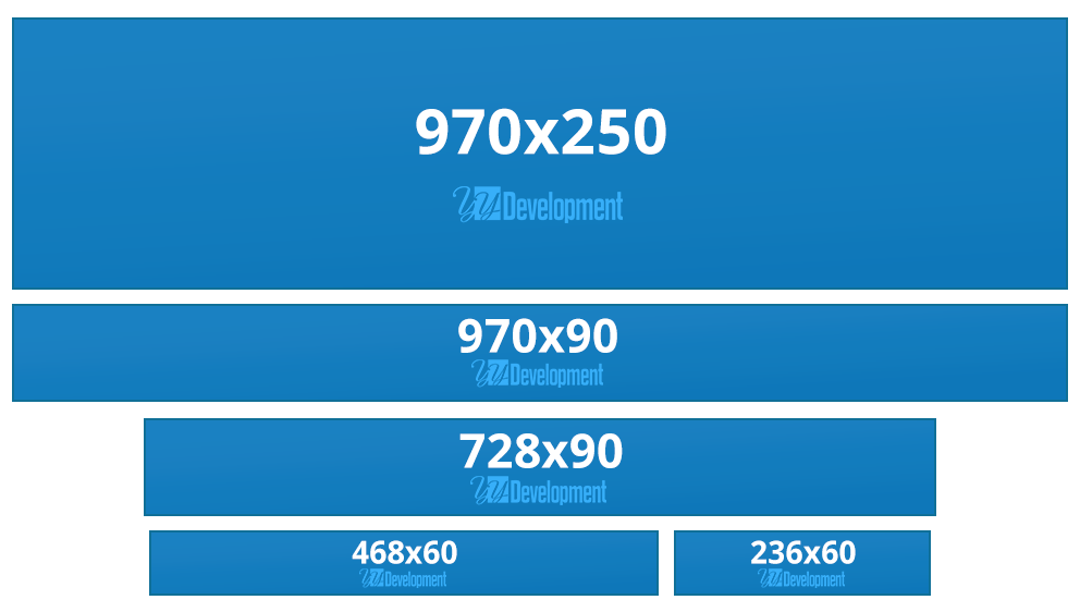Leaderboard Banner Sizes - 970x250, 970x90, 728x90, 468x60, 236x60