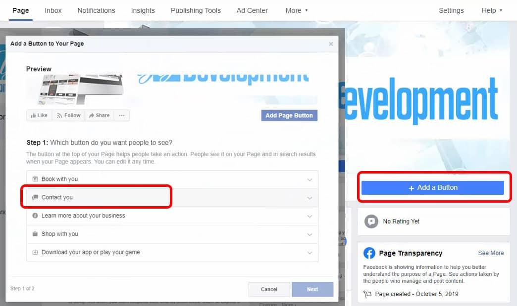 Adding Contact Us Button To Facebook