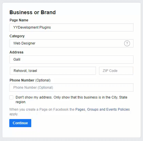 Inserting New Facebook Page Details