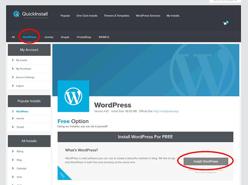 Install WordPress Button On Hostgator