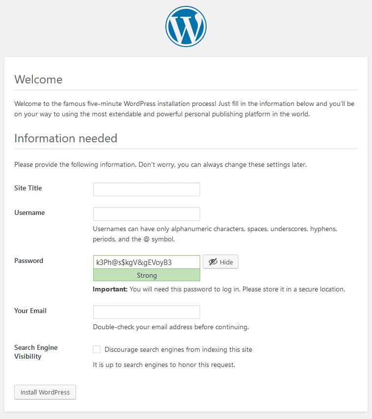 Install WordPress Setting