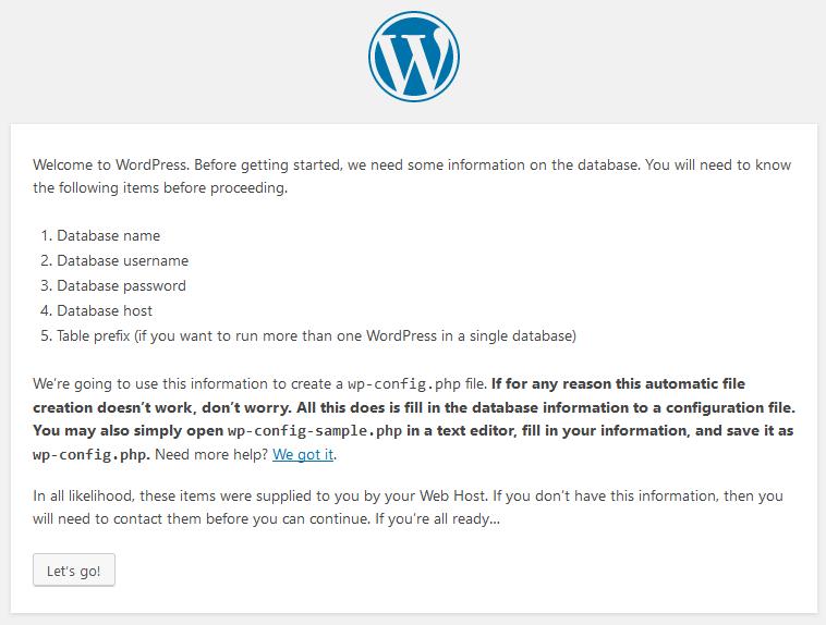 Wordpress Install Intro
